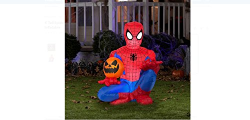 4' Tall Spiderman Holding Pumpkin Halloween Airblown Inflatable