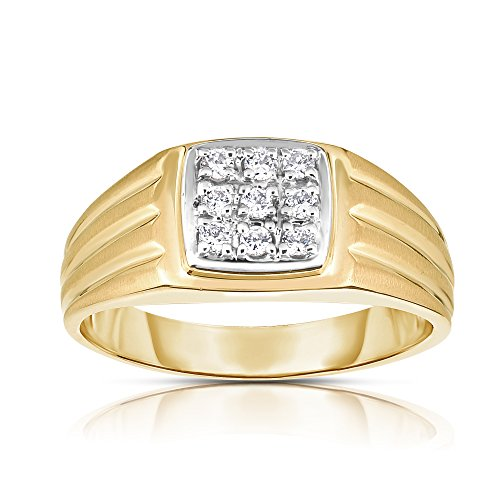 Noray Designs 14K Yellow Gold Diamond (0.22 Ct, I1-I2 Clarity, G-H Color) Men's 9-Stone Ring by Noray Designs