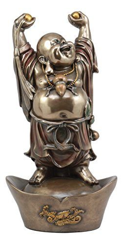 Ebros Chinese Zen Monk Happy Buddha Standing On Golden Nugget Statue Zen Happiness Fortune Joy Symbol Hotei Buddha God Sculpture For Sale