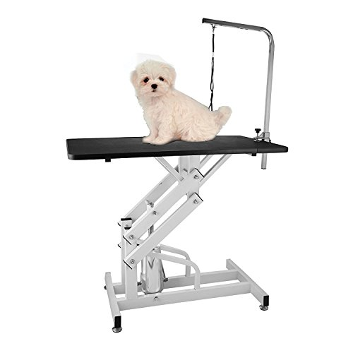 Happybuy Hydraulic Grooming Table Heavy Duty 42.5 x 23.6 Inch Z-Lift Pet Grooming Table Pattern Rubber Surface Grooming Table with Arm Pet Grooming Table