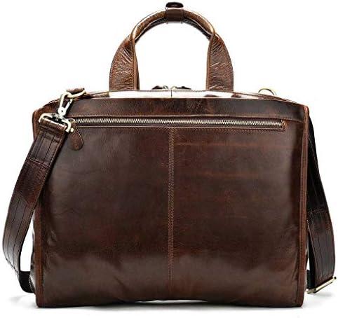 男性用メッセンジャーバッグ,耐水性レザーサッチェル 14 インチラップトップブリーフケースビジネスショルダーブックバッグ