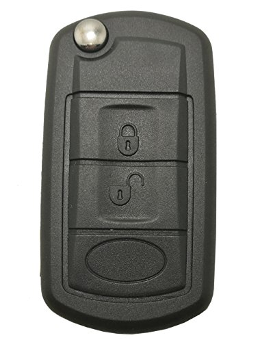 (Car Key Fob Case Shell Fit for Land Rover LR3 Discovery Range Rover Sport 3 Buttons Uncut Blank Flip Folding Keyless Entry Remote Replacement Cover Casing (Black))