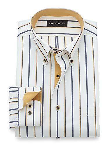 Paul Fredrick Men's Slim Fit Luxury Cotton and Merino Wool Stripe Dress Shirt