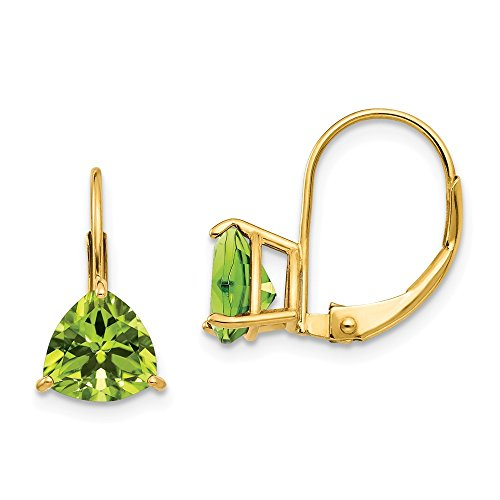 (14k Yellow Gold 7mm Trillion Green Peridot Leverback Earrings Lever Back Drop Dangle Gemstone Prong Fine Jewelry Gifts For Women For Her)
