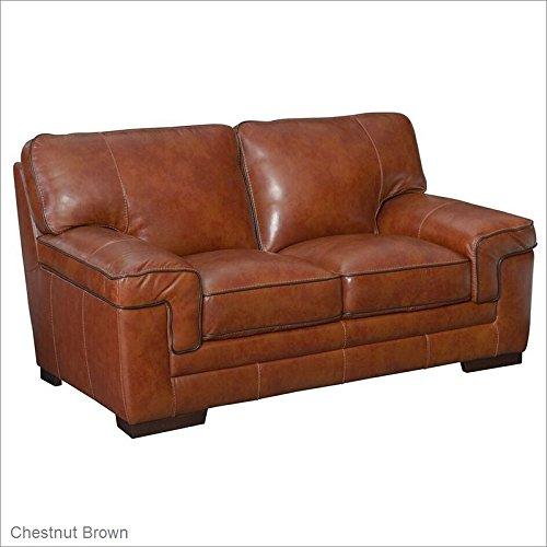 - Simon Li Furniture Macco Leather Loveseatin Chestnut Brown