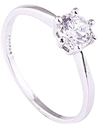 18K White Gold Inlaid Zircon Six-claw Ring Promise Wedding Engagement Ring