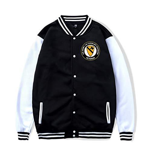 Men Women Track Jacket Sweater Army 1st Cavalry Division Veteran Baseball Uniform Jacket Sport Coat Sweatshirt Black