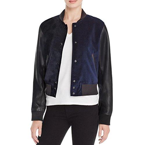 rag & bone Womens Camden Textured Ribbed Trim Jacket Navy M