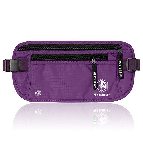 Nylon Purple Travel Wallets - VENTURE 4TH RFID Money Belt for Girls - Hidden Passport Holder (Purple)