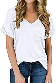 MIHOLL Women's Short Sleeve V-Neck Shirts Loose Casual Tee T-S