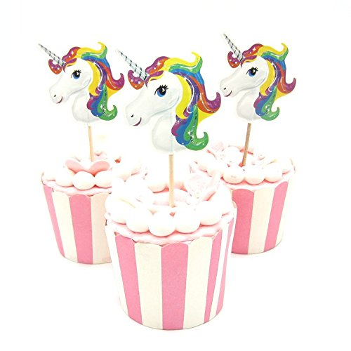 40 Pieces Unicorn Cupcake Topper Food Picks for Kids Baby Shower Birthday Cake Decor BY - Cupcake Wood Toppers Picks For