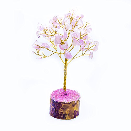 one Bonsai Money Tree for Good Luck, Wealth Health & Prosperity Spiritual Gift Crystal Energy Feng Shui Home Table Decor Size 7-8 inch (Rose Quartz (Golden Wire)) ()