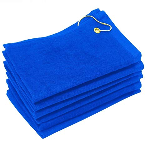 SHOPINUSA Set of 12, Terry Velour Golf Towels Corner Grommet & Hook, 11x18 Fingertip Towels, 100% Cotton Sport Towels (12, Royal) ()