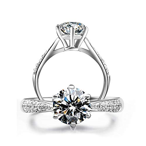 AMDXD Jewelry Ring Sterling Silver 925 Six Claw Created Diamond Anniversary Rings Size 4.5