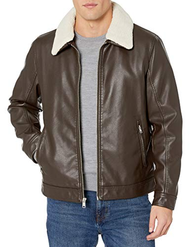 Tommy Hilfiger Men's Classic Faux Leather Jacket with Removable Sherpa Collar