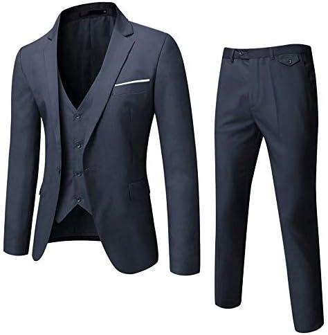 [スポンサー プロダクト]GOMY メンズスーツ 夏 春 スリーピース セットアップスーツ 紺 一つボタン 結婚式/ビジネス/カジュアル/オシャレ 大きいサイズ スリム 抗シワ 洗える セットアップ