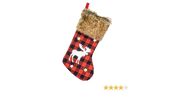 Hannas Handiworks Cozy Fur Reindeer Rosy Red Plaid 22 x 11 Fabric Holiday Stockings Set of 2