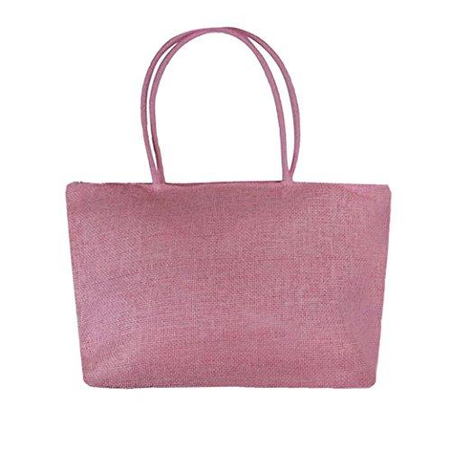 sac à de Casual Sac Femmes Rose de main Internet bonbons Sacs Paille à bandoulière plage couleurs Grande n8wptqxq