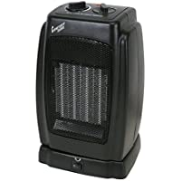 High-Performance 1500 Watts Oscillating Compact Ceramic Heater, 6 Long Cord, 120 Volts, 5,120 BTU, Adjustable Thermostat, Black
