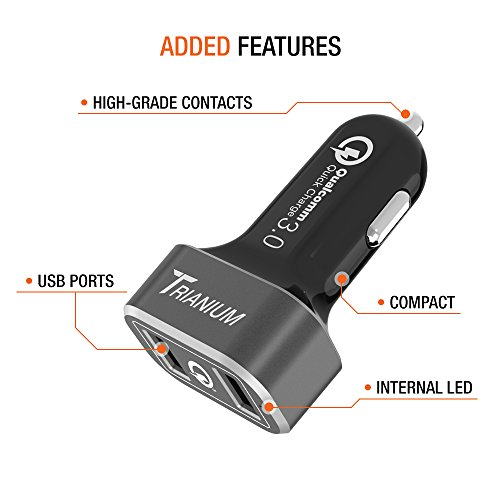 trianium 36w quick charge 3 0 dual usb car charger for