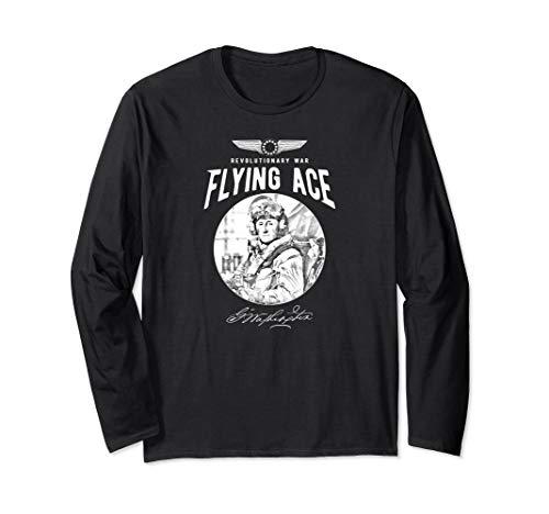 Vintage George Washington Pilot Revolutionary War Flying Ace Long Sleeve ()