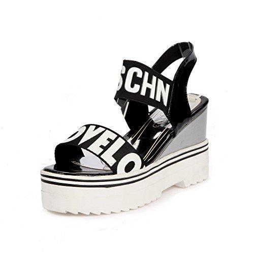 VogueZone009 Women's Pull On High Heels PU Solid Open Toe Sandals Black