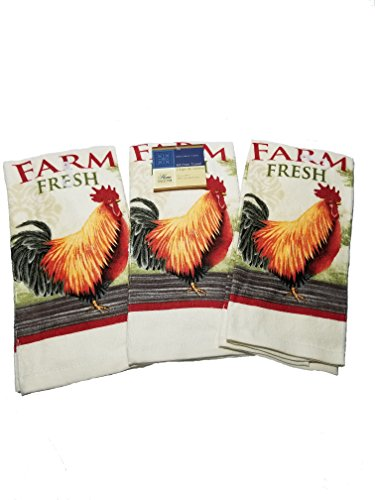 Home Collection Bundle Of 3 Country Farm Fresh Themed Dish Towels Featuring Our Classic Red Rooster To Brighten Any Kitchen