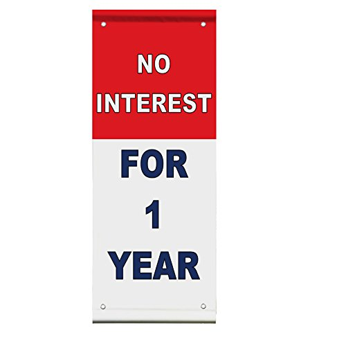 No Interest For 1 Year Red Blue Double Sided Vertical Pole Banner Sign 24 in x 48 in w/ Wall Bracket by Fastasticdeals