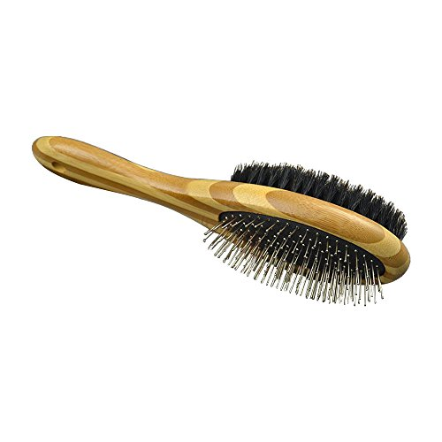 Dual Sided Pin &Bristle Pet Grooming Brush for Dogs and Cats with Short to Long Hair, Massage Pet Brush with Natural Bamboo Handle ()