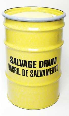 Salvage Drum, Open Head, 30 gal, Yellow
