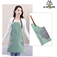 U-HOOME Waterproof Aprons For Women Convenient Pocket Durable Stripe Kitchen and Cooking Apron for Stripe Chef Apron for Cooking,Grill and Baking