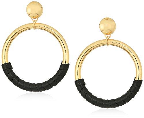 Steve Madden Women's Black Faux Leather Wrap Design Yellow Gold-Tone Front Hoop Earring