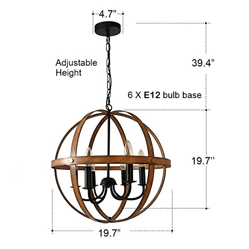 AICCOA Rustic Modern Farmhouse Chandelier Lighting Sphere Orb Ceiling Light Fixture Pendant Chandelier for Dining Room Entryway Bathroom Bedroom Wood Metal Cage Oil Rubbed Bronze Finish Barnwood by AICCOA (Image #4)
