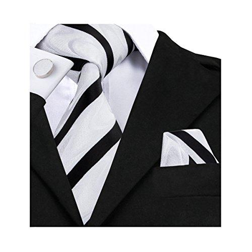 (Tie Set Black and White Stripe Ties Handkerchief Cufflinks Silk)