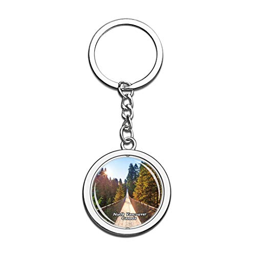 Keychain Capilano Suspension Bridge Park North Vancouver Canada Keychain 3D Crystal Spinning Round Stainless Steel Keychains Travel City Souvenir Key Chain Ring -