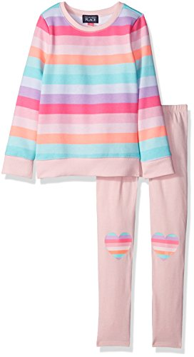 The Children's Place Little Girls and Toddler Rainbow Stripe Pullover Set, Pink, 2T