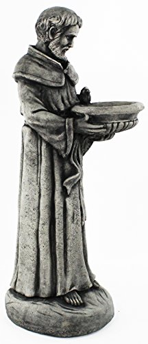 Cement Garden Sculpture - Saint Francis Concrete Garden Statue Religious Outdoor Catholic Figure Cement Sculpture Bird Feeder Garden Statue
