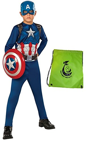 Making Captain America Costume (Captain America 3 Bundle: Civil War Kids Costume Small with Shield 12