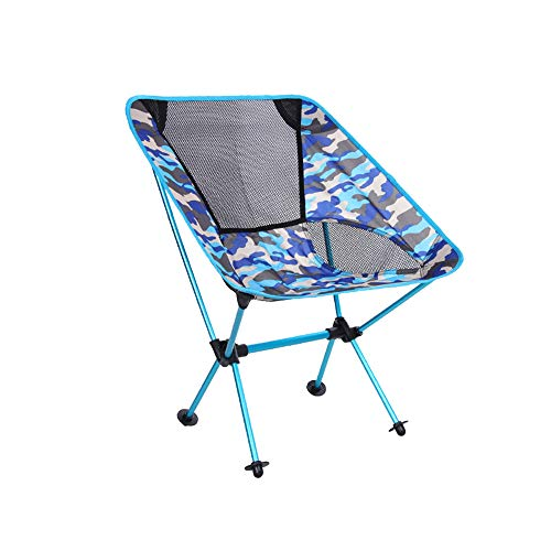 MIMI KING Outdoor Folding Chair Ultra Light Portable Oxford Cloth Fishing Chair Leisure Camping Beach Chair with Carry Bag,BlueCamouflage