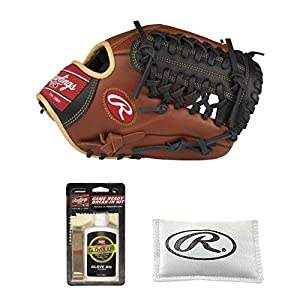 Rawlings Sandlot Series Infield/Pitching Baseball Glove (11.75″ – Right Hand Throw), Game Ready Break-in Kit with Rosin Bag – Value Bundle