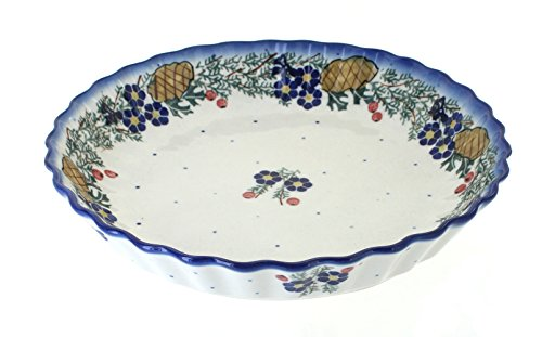(Blue Rose Polish Pottery Pinecone Pie Plate)