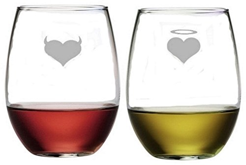 - Devil Angel Stemless Wine Glasses | Etched Engraved | Perfect Fun Handmade Present for Everyone | Lead Free | Dishwasher Safe | Set of 2 | 4.25