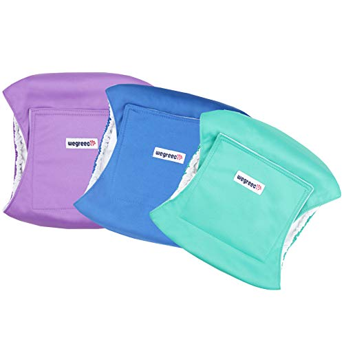 wegreeco Washable Dog Diapers - Washable Male Dog Belly Wrap- Pack of 3 -  (Blue,Green,Purple,XX-Large)