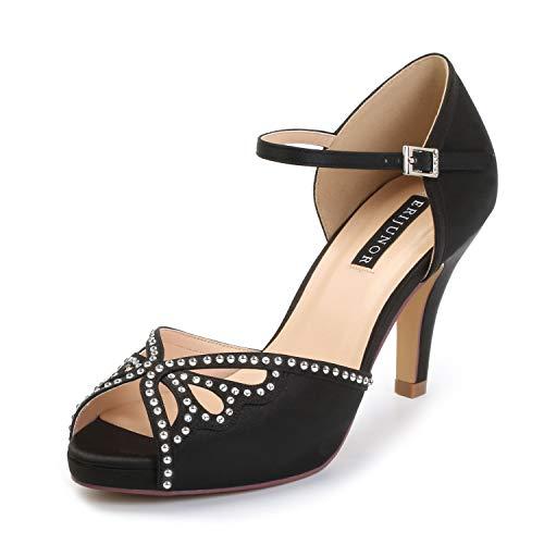 ERIJUNOR E8868B Women Fashion Stilettos Open Toe Pump Mid Heel Sandals Rhinestones Party Shoes Black Size 11