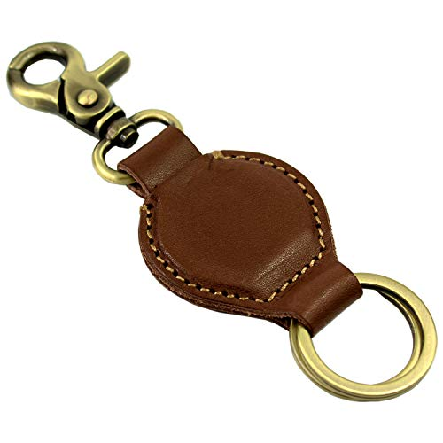 Leather Keychain, with Hook and 2 Detachable Key Rings, Full Grain Leather - by LXFF (Brown)