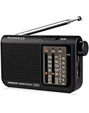 Retekess V-117 Portable AM FM Radio with Shortwave Battery Powered Transistor 3.5mm Headphone Jack Speaker Small Compact Pocket Radios(Black)