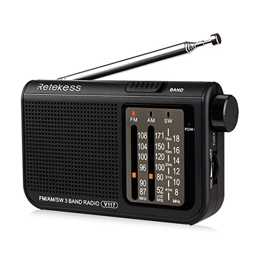 Retekess V117 Transistor Radio Shortwave AM FM Radio with Earphone Jack Operated by 2 AA Battery for Elder(Black,100 Packs)