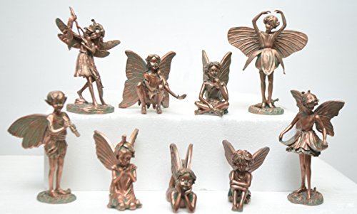 Homestyles New Minature Fairies Figurine Flower Collection (Set of 9) #96157 Minature Fairy Garden Statue Bronze Finish by Home Styles