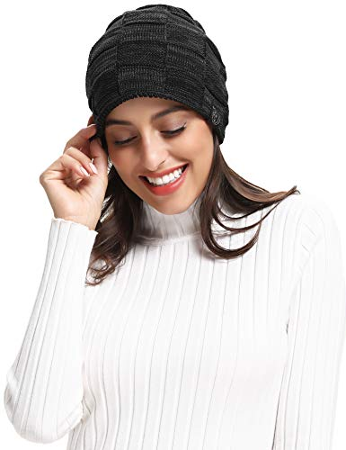RIZUIEI Slouchy Beanie Hat for Men and Women Winter Warm Hats Knit Thick Cap,4 Color (Black)