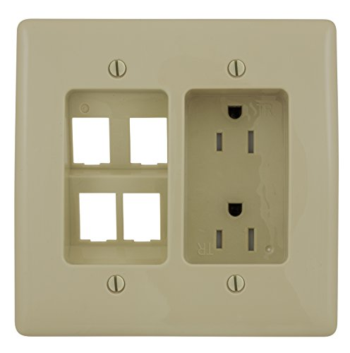 Ivory S-video - Bryant Electric RR1514I 2-Gang Recessed TV Connection Outlet Plate with 15 Amp 125V Tamper-Resistant Duplex Receptacle and One 4-Port Data Jack Opening, Ivory